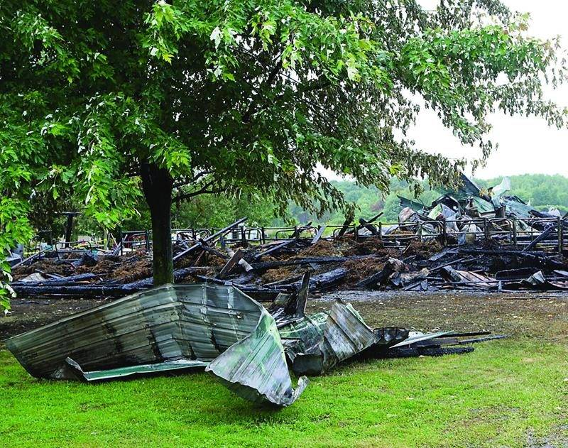 Les quelque 300 veaux se trouvant à l'intérieur des bâtiments ont péri dans l'incendie. Photo Robert Gosselin | Le Courrier ©