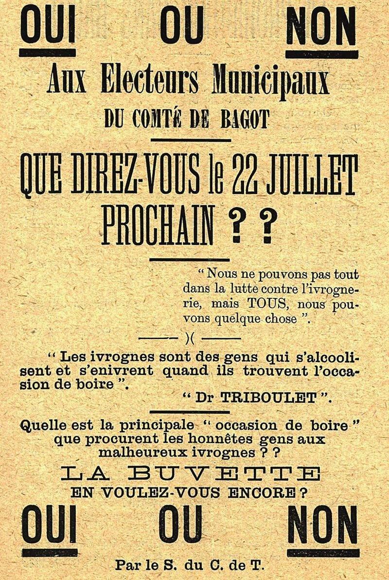 Prospectus du Comité de Tempérance de Bagot en vue du référendum de 1912 sur la prohibition dans le comté. CH257.