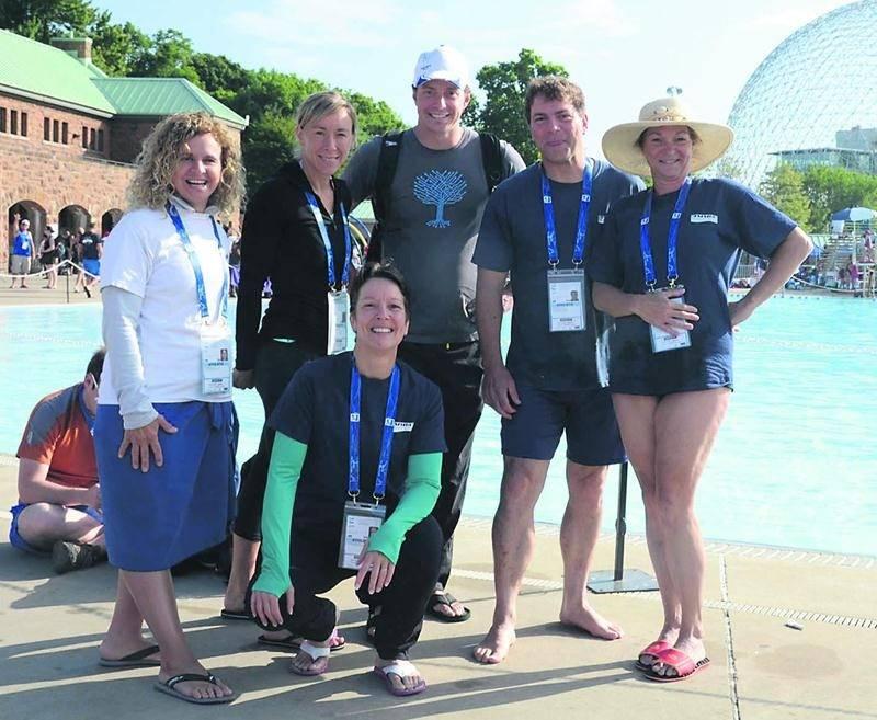 Six représentants du Club de natation de Saint-Hyacinthe (CNSH) ont profité de la rare venue de la compétition d'envergure internationale en sol québécois pour y participer. Photo Courtoisie
