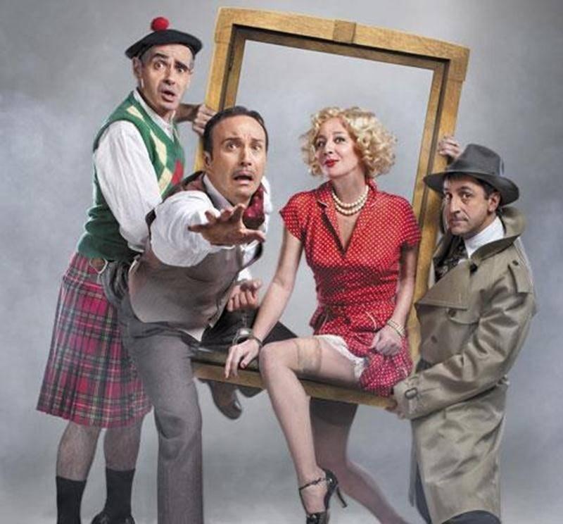 Avec Joël Legendre, Diane Lavallée, Martin Drainville et Patrice Coquereau, la pièce <em>Les 39 marches</em> est une satire hilarante du thriller <em>The 39 steps</em> d'Alfred Hitchcock.