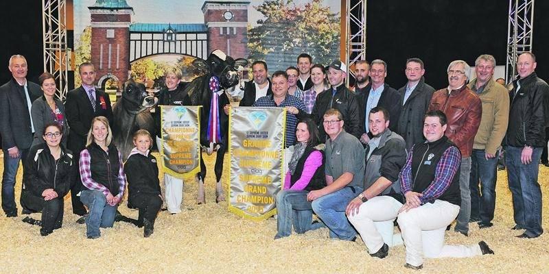 La Grande Championne et la Grande Championne de Réserve entourée de leurs propriétaires et de leurs équipes. Photo Isabel Touchette