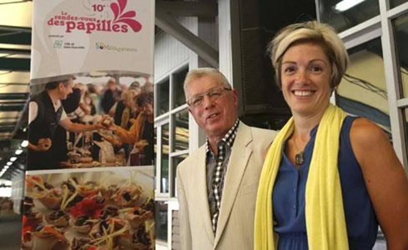 Claude Marchesseault, président du Rendez-vous des papilles, accompagné de Marie-Claude Lapointe, du Service des loisirs de la Ville de Saint-Hyacinthe, qui prend le relais à la direction générale du festival gourmand.