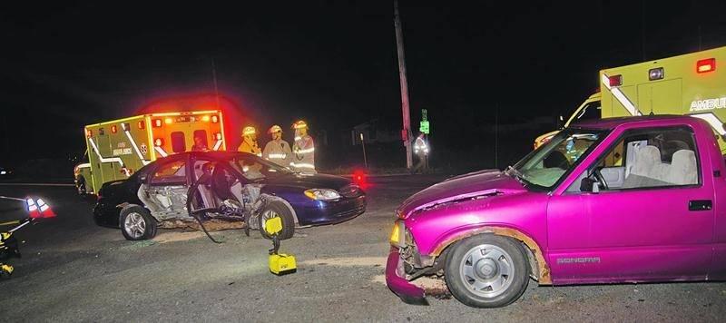 La route 235 a été le théâtre de deux accidents vendredi soir à Saint-Pie. Photo Bruno Beauregard