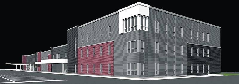 Maquette du futur immeuble administratif du CSSSRY qui sera construit dans le prolongement de l'édifice du CLSC des Maskoutains.