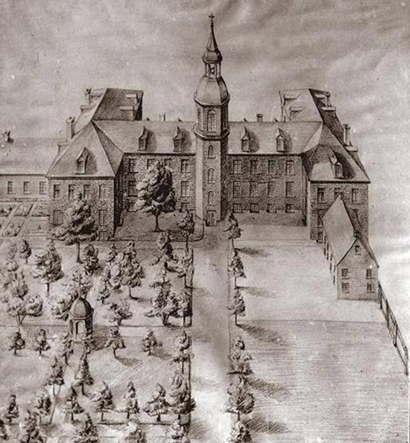 Illustration du premier Collège situé sur la rue Girouard près de l'actuelle Cathédrale (Archives CHSH).