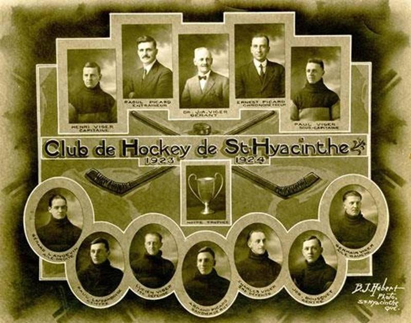 Le fameux club des frères Viger lors de la saison 1923-1924.Coll. Centre d'histoire de Saint-Hyacinthe