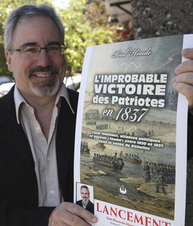 Réal Houde lors du lancement du livre <em>L'improbable victoire des Patriotes</em> à l'occasion du 175 e anniversaire de la défaite des Patriotes.