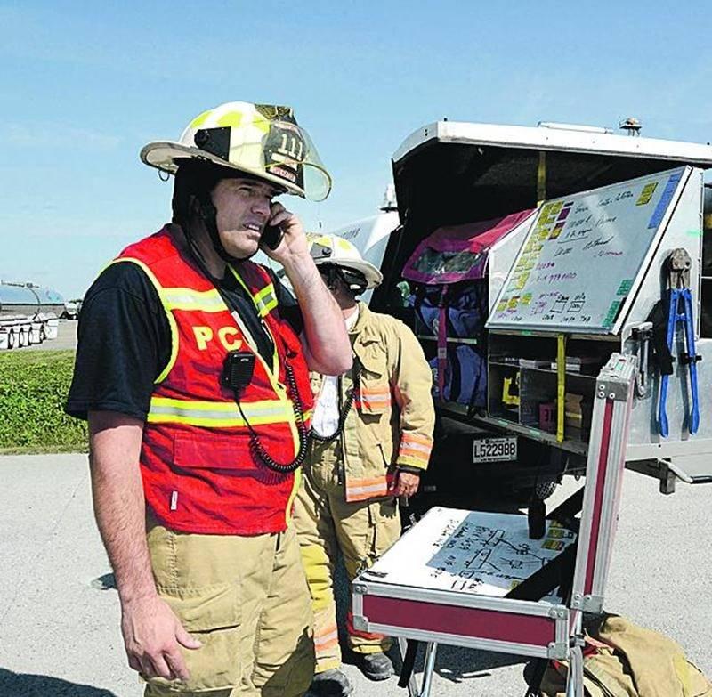 La simulation a mobilisé 35 pompiers du Service de sécurité incendie de Saint-Hyacinthe. Photo François Larivière | Le Courrier ©