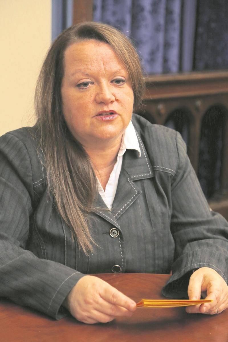 Chantal Goulet, à son point de presse de fin de campagne électorale à la mairie. Photo Robert Gosselin | Le Courrier ©