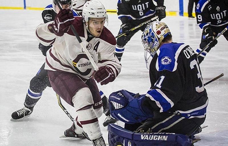 Anthony Beauregard, de Saint-Damase, a obtenu un contrat d'essai amateur avec le Rocket de Laval après avoir terminé au sommet du classement des pointeurs de la ligue canadienne de hockey universitaire. Photo Stingers de Concordia