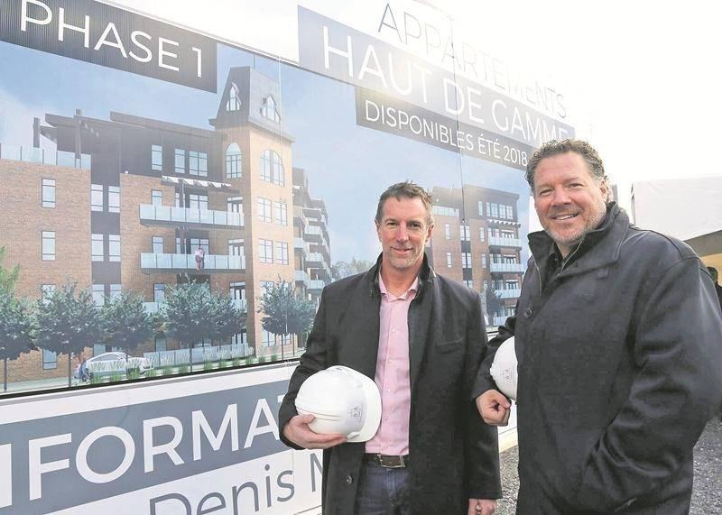 Sur la photo de gauche à droite, les promoteurs immobiliers maskoutains, Yan Jubinville et Jean-Denis Major. Photo Robert Gosselin | Le Courrier ©