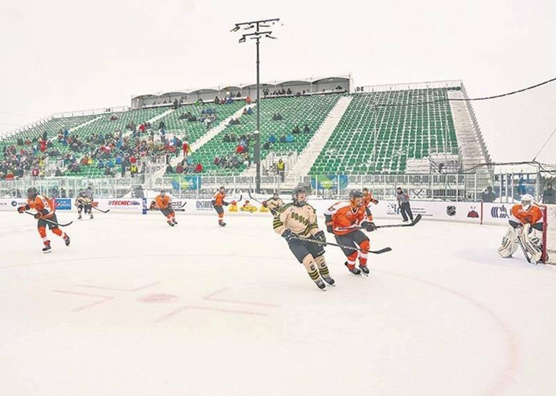Ce n'était que la deuxième fois qu'un match de la Ligue de hockey midget AAA du Québec se tenait à l'extérieur.Photo François Larivière | Le Courrier ©