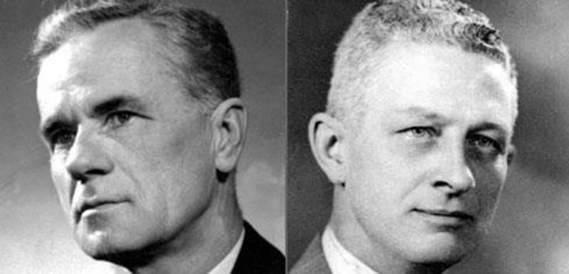 Messieurs L. Édouard Morier et Ernest J. Chartier en 1950. (Archives du Centre d'histoire de Saint-Hyacinthe, CH478-014-PI002-002-0036)