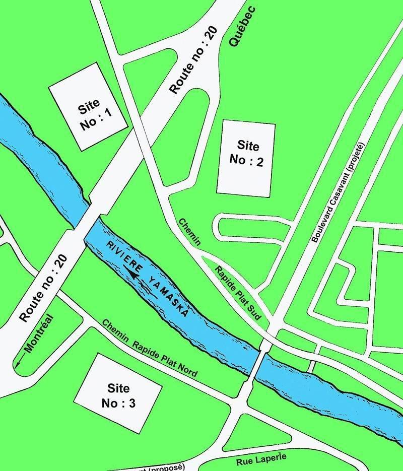 Plan représentant les trois sites proposés pour la future usine d'épuration des eaux usées. Collection Centre d'histoire de Saint-Hyacinthe