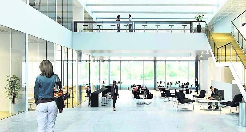 Les entreprises qui logeront dans l'édifice disposeront d'un vaste et lumineux hall d'entrée.
