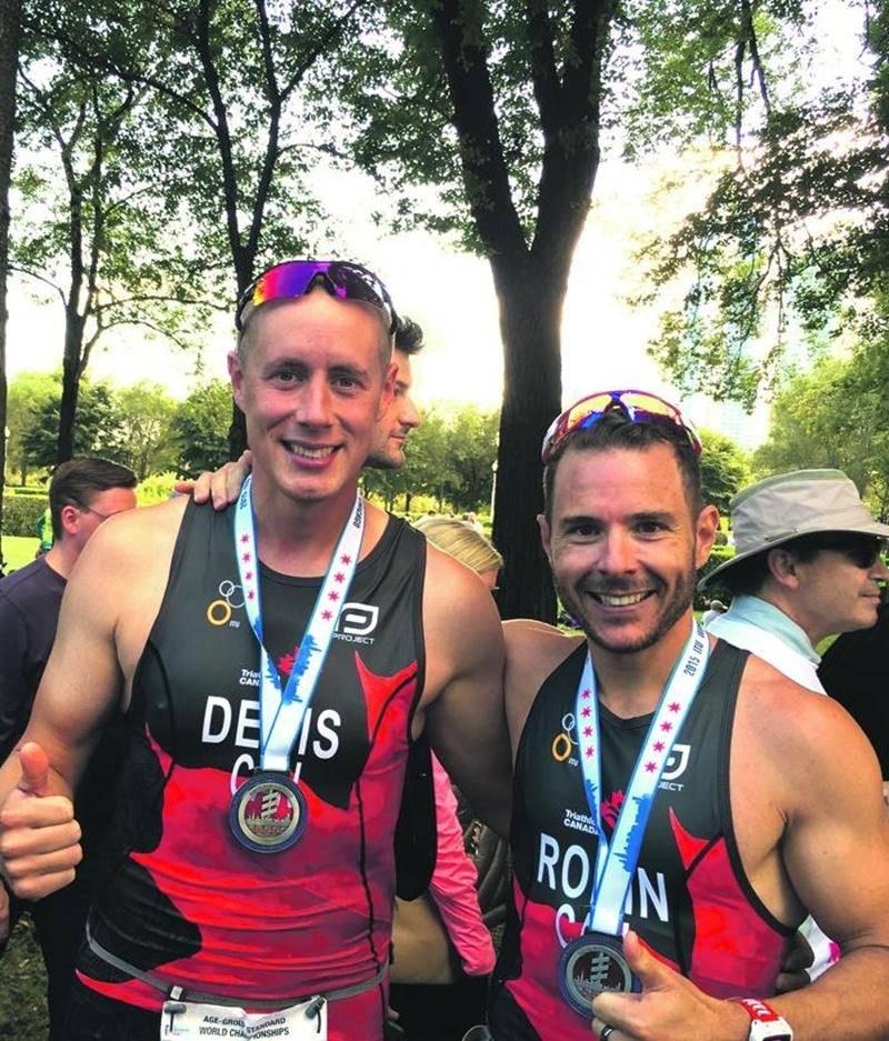 Sylvain Denis et Jonathan Robin ont goûté à leur premier championnat du monde de triathlon à Chicago. Photo Courtoisie