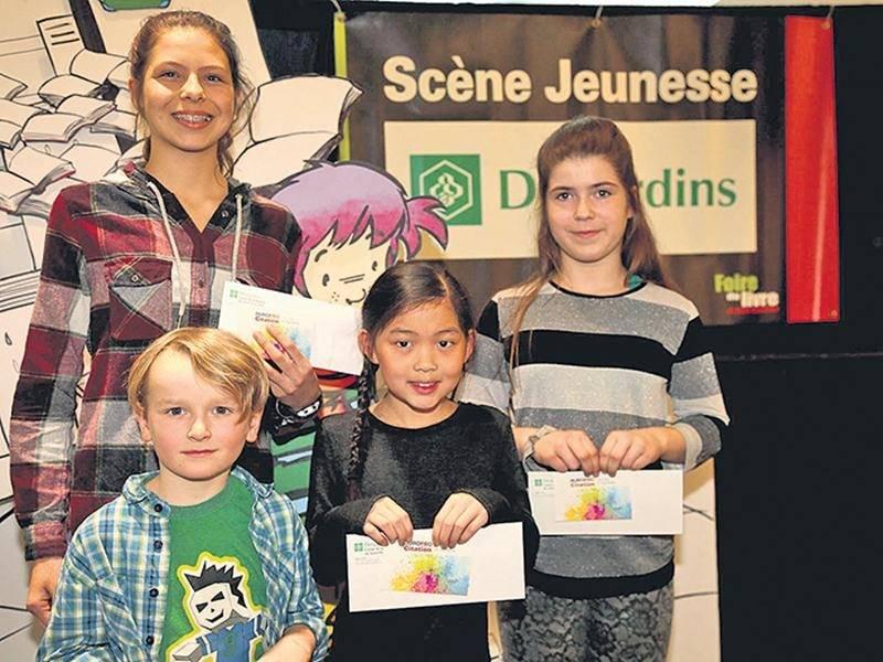 Sur la photo, on reconnaît Catherine Raymond, Matéo Brabant, Maïka Lanoie et Azur Morissette. Absente : Audrey Jubinville.