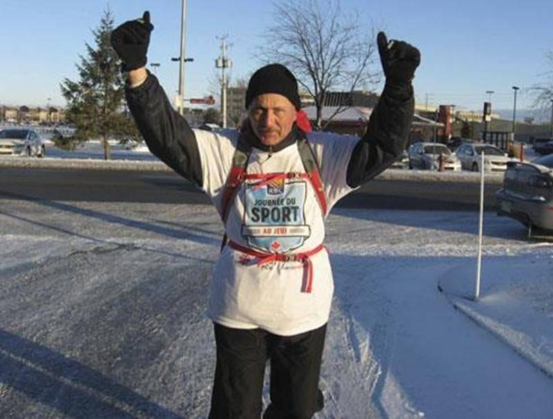 L'ultramarathonien Michel Gouin a parcouru la distance entre Ottawa et Drummondville à la course afin de sensibiliser les jeunes aux saines habitudes de vie.