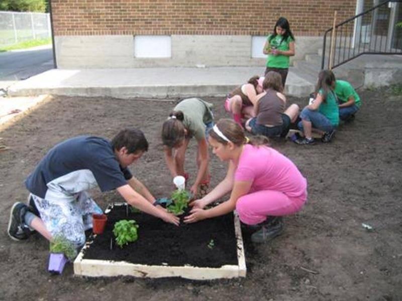 Les élèves du 3<sup>e</sup> cycle de l'école de la Croisée d'Upton, sous la supervision de leur enseignante, ont transformé l'ancienne cour des maternelles en un oasis de verdure. Ceux-ci ont travaillé d'arrache-pied afin de remettre cette cour inutilisée de l'école en bon état. Ils ont passé plusieurs journées à étendre de la terre, à semer du gazon, à fabriquer des boîtes pour les plans de fines herbes et à y installer des accessoires de décorations telle qu'une fontaine et quelques bancs. Ce