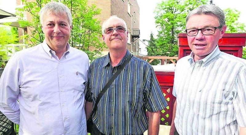 Paul Arcand, Michel Morissette et le maire Claude Corbeil.