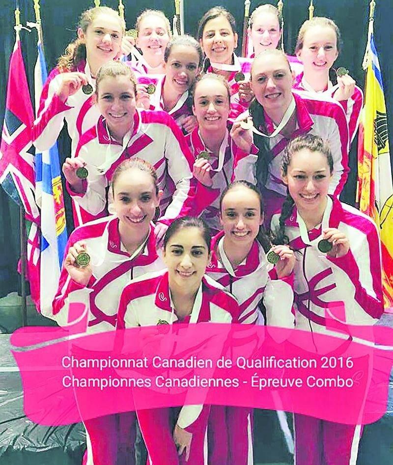 L'équipe combo de Montréal Synchro compte quatre anciennes Vestales dans ses rangs, soit Mélody Roy, Alex-Anne Trudeau, Laurence Trudeau et Emmanuelle Chachaï. Photo Courtoisie