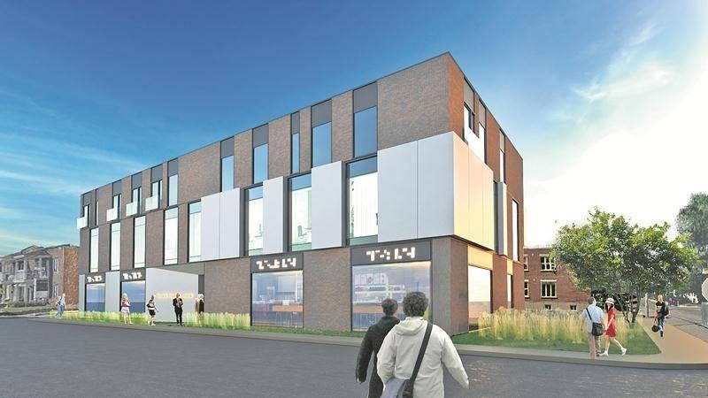 La maquette de la future bâtisse commerciale au 2595, avenue Sainte-Anne. Sa construction nécessite la démolition du bâtiment voisin. Photo courtoisie