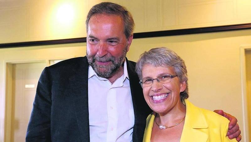 Thomas Mulcair en compagnie de Brigitte Sansoucy à la veille du déclenchement des dernières élections fédérales. Photothèque | Le Courrier ©