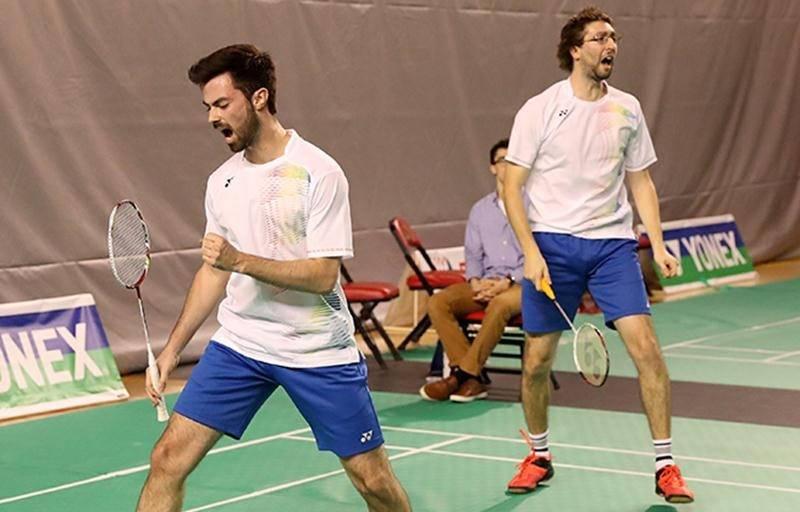 Le Maskoutain Philippe Gaumond (à droite) et son partenaire de double, Maxime Marin. Photo Yves Lacroix | Badmintonphoto