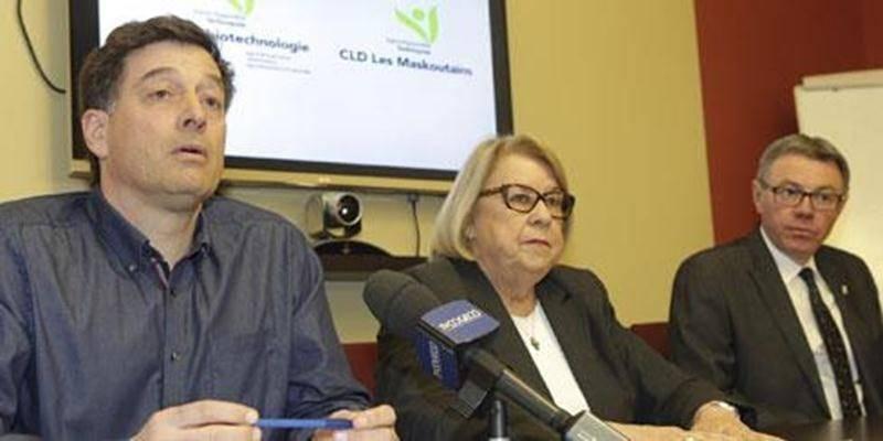 Dans l'ordre habituel, André Barnabé, président par intérim de la Cité de la biotechnologie, Francine Morin, présidente par intérim du CLD Les Maskoutains, et Claude Corbeil, maire de Saint-Hyacinthe.