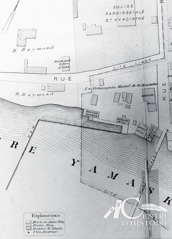 Sur ce plan de Saint-Hyacinthe datant de 1880, on retrouve la bâtisse de l'aqueduc, désigné ici sous le terme de «Water works», sur le terrain bordé par la rivière et par les rues Bourdages et Girouard. Photo Archives Centre d'histoire de Saint-Hyacinthe