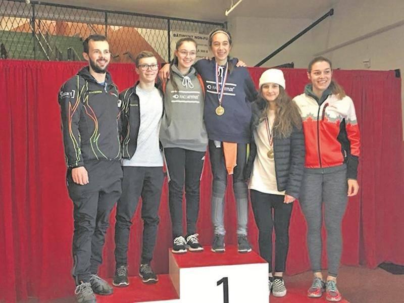 Sur la photo, l'entraîneur Olivier Godin, Félix Pigeon, Roselyne Pigeon, Sarah-Ève Wille, Lia Meed et la Maskoutaine Audrey Phaneuf, membre de l'équipe canadienne de développement.  Photo Facebook