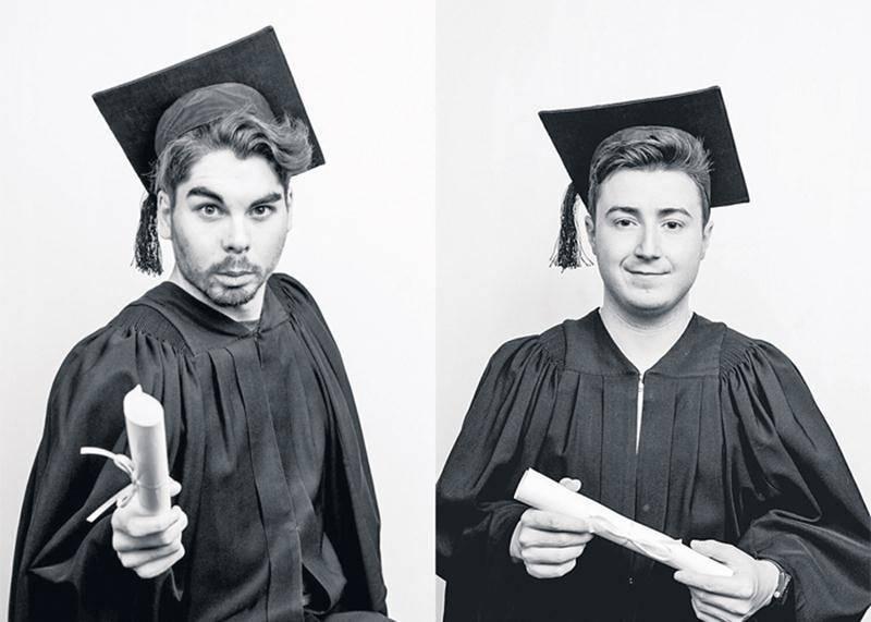 Hugo Lamirand et Alexandre Meunier font partie de la cohorte de 13 étudiants qui se produiront sur scène dans le cadre de la tournée des finissants de l'École nationale de l'humour