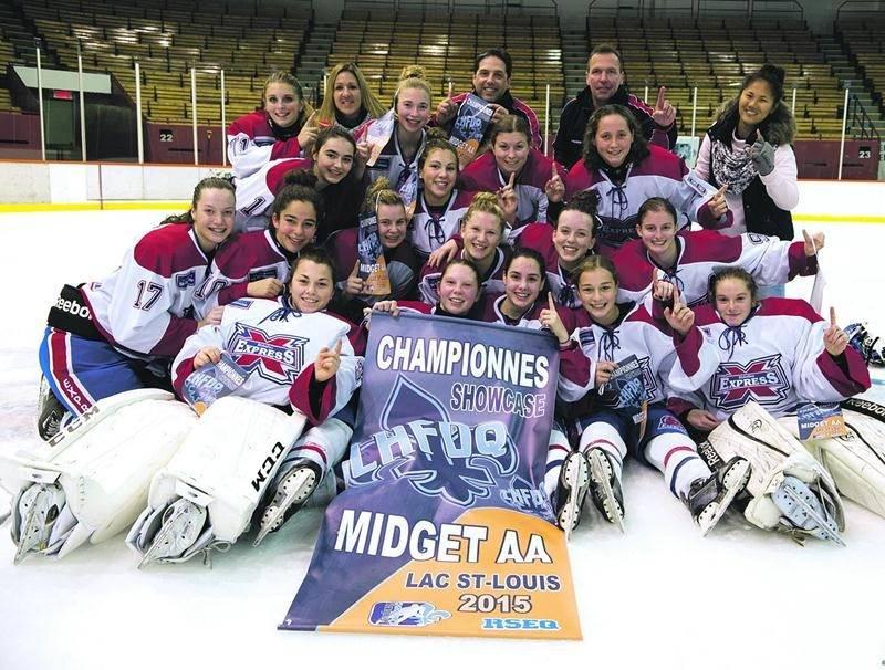 L'Express du Richelieu a défait les Harfangs de Sherbrooke en finale du Showcase Midget AA de la LHFDQ Photo Courtoisie