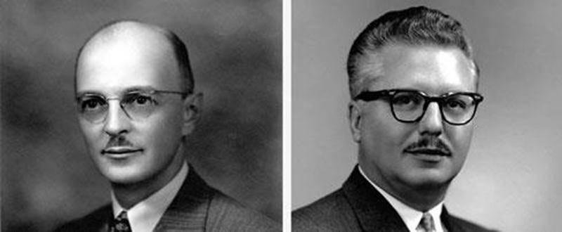 Messieurs Napoléon Laplante, en 1939, et Lucien Brosseau, en 1960. (Archives du Centre d'histoire de Saint-Hyacinthe, CH085-001-001-E0456 et CH085-005-000-0093)