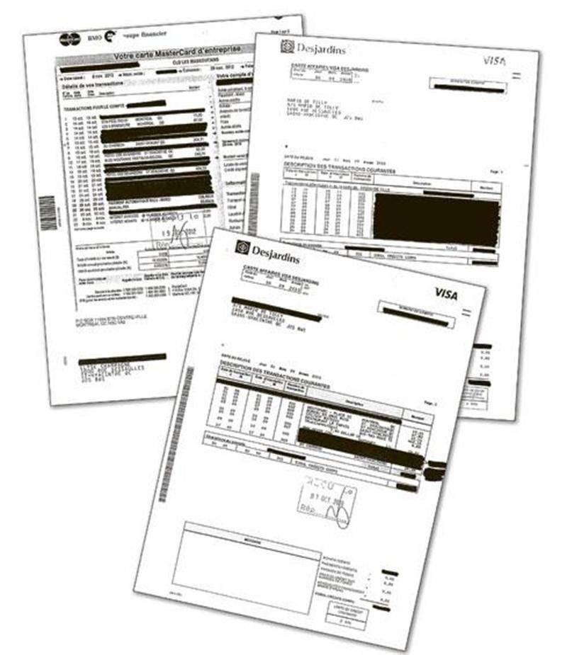 Environ une centaine de transactions ont été caviardées des relevés de carte de crédit corporative du directeur général du CLD, Mario De Tilly, et de ceux des membres de son équipe entre les années 2010 et 2012.