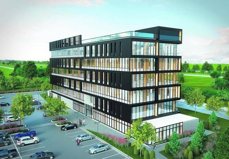 Maquette de l'édifice à bureaux dont la construction vient de commencer sur les terrains du complexe commercial M Rendez-vous Marchands.
