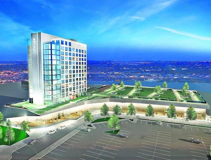 Maquette du futur centre de congrès municipal de Saint-Hyacinthe comportant un hôtel haut de gamme de 200 chambres.