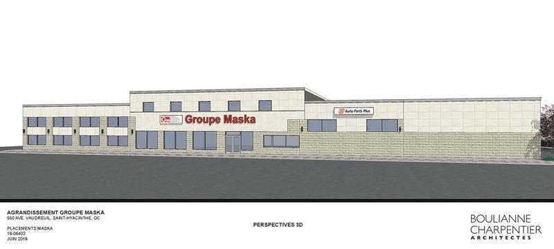 Maquette de l'agrandissement du siège social de Groupe Maska à Saint-Hyacinthe.