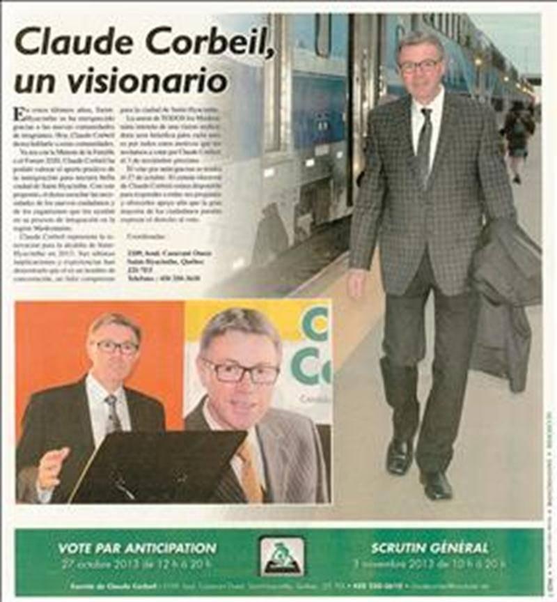 Le candidat à la mairie de Saint-Hyacinthe Claude Corbeil a accordé beaucoup de place au train de banlieue, en route vers son élection de novembre 2013. Photothèque   Le Courrier ©
