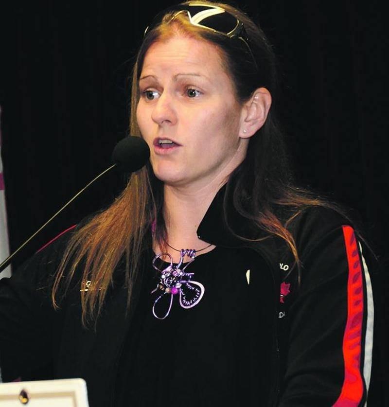 Sandra Lizé, athlète de water-polo ayant participé aux Jeux olympiques de Sydney en 2000, a partagé son expérience avec la relève maskoutaine. Photos François Larivière | Le Courrier ©