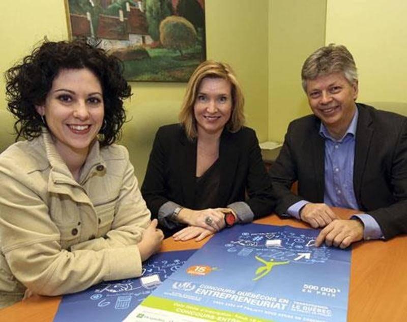 Sur la photo, de gauche à droite : Anne-Marie St-Germain, de la Chambre de commerce et de l'industrie Les Maskoutains; Nathalie Delorme, du CLD Les Maskoutains; et Sylvain Gervais, de la Corporation de développement commercial.