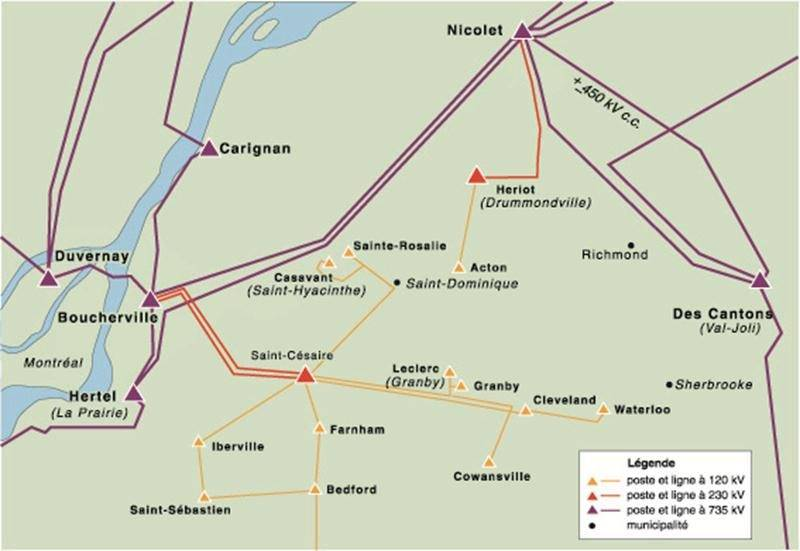 Le réseau d'Hydro-Québec avant le verglas de 1998 et celui après la construction de la boucle montérégienne. Photothèque | Le Courrier ©