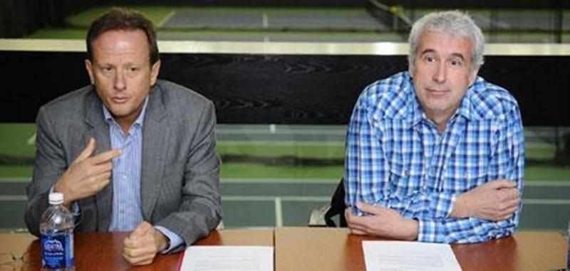 Jean Bédard, président du Groupe Sportscene, et François St-Pierre, directeur général du Complexe sportif Paul-Lemieux.