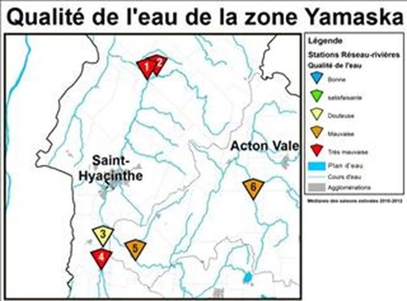Qualité de l'eau des stations Réseau-rivières du Ministère près de Saint-Hyacinthe. OBV Yamaska