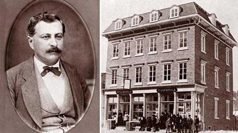 Maximilien-Aimé Kéroack vers 1875 / Édifice de la Librairie Kéroack avant le grand feu de 1876 (Source: Archives Centre d'histoire de Saint-Hyacinthe).