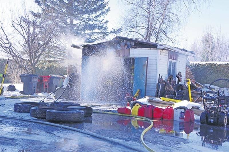 Un cabanon incendié à Saint-Hyacinthe