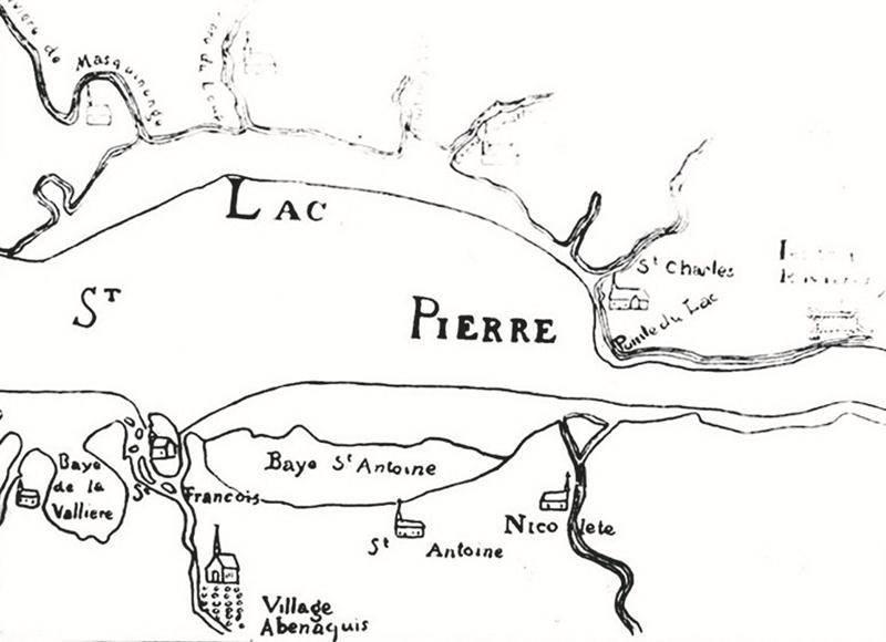 Extrait d'une carte publiée vers 1740. Collection Société Historique de la Région de Pierreville.