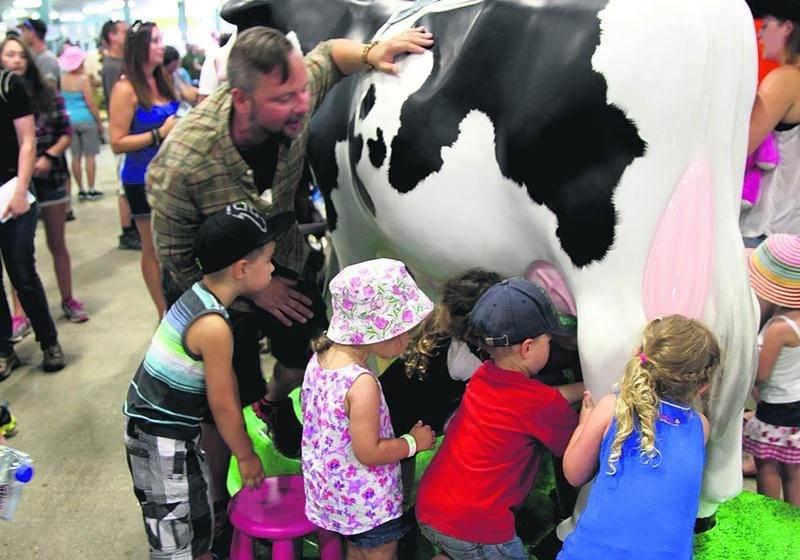 La vache mécanique a piqué la curiosité des enfants qui pouvaient s'exercer à la traite. À la différence d'un animal réel, on avait remplacé le lait par de l'eau. Photo Robert Gosselin | Le Courrier ©