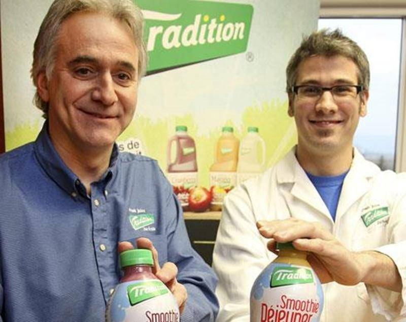 Rémi Gagnon, directeur en recherche et développement et Mathieu Goyette, chargé de projet à l'entreprise les Vergers Paul Jodoin.