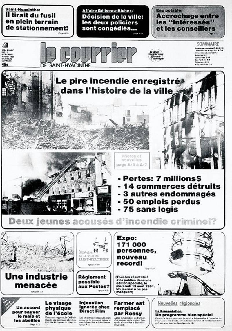La Une du Courrier de Saint-Hyacinthe le 5 août 1981.